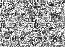 Doodle Finance pattern. Cartoon vector illustration Stock Photos
