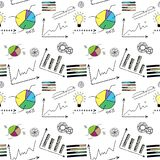 Doodle finance seamless pattern. On white background, stock vector illustration Royalty Free Stock Photography