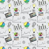 Doodle finance seamless pattern. Stock vector illustration Stock Photos