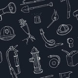 Doodle fire fighting tools seamless pattern Vintage illustration Stock Image