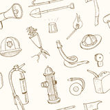 Doodle fire fighting tools seamless pattern Vintage illustration Stock Photography