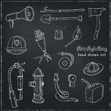 Doodle fire fighting tools set Vintage illustration Royalty Free Stock Images