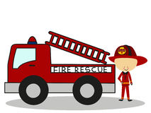 Doodle Firefighters Fire Rescue - Full Color Royalty Free Stock Images