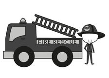 Doodle Firefighters Fire Rescue. A man sing a song Royalty Free Stock Image