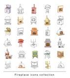 Doodle fireplace doodle set, vector illustration. Royalty Free Stock Image