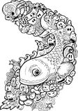 Doodle fish, Hand drawn illustration. Illustration of Doodle fish, Hand drawn illustration Royalty Free Stock Image