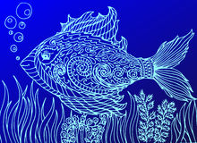 Doodle fish. Line art background. Doodle eye in the fish form. Isolated on the blue background Stock Photography