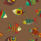 Doodle fish seamless pattern. Doodle Colorful fish seamless pattern. Good for decorative paper Stock Images