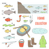 Doodle fishing objects collection Royalty Free Stock Photo