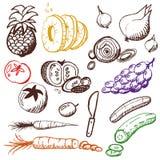 Doodle fissato - frutta e verdure Immagine Stock