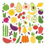 Doodle flat fruits and vegetables. Hand drawn berries potato onion tomato apples, vegetarian set. Vector fruits doodle vector illustration