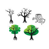 Doodle flat silhouette tree and nature. Icons set in Doodle style and flat silhouette tree and nature, old stump on a white background Stock Photography