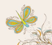 Doodle floral background, hand drawn retro Royalty Free Stock Image