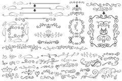 Doodle Floral border,frame,decor element.Hand royalty free illustration