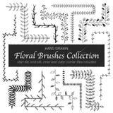 Doodle floral brushes. Hand drawn vintage floral brushes. Branch and leaf brushes for wedding invitation, greeting cards and postcard design. Border, divider Royalty Free Stock Image