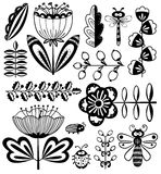 Doodle floral decorative design elements set with bugs  Royalty Free Stock Photography
