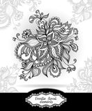 Doodle floral elements in grey Stock Photo
