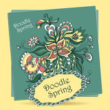 Doodle floral elements in marine blue Royalty Free Stock Images