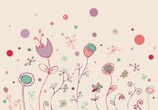 Doodle floral encantador ilustración del vector