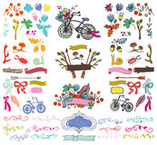 Doodle floral group,hand sketch rustic colored Royalty Free Stock Images