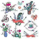 Doodle floral group,hand sketch vintage elements Royalty Free Stock Photography