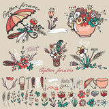 Doodle floral group,hand sketched element decor Stock Images
