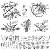 Doodle floral group,hand sketched element kit.Outline Stock Photo