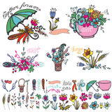 Doodle floral group,hand sketched element kit Royalty Free Stock Photo