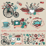 Doodle floral group,hand sketched element set Royalty Free Stock Images