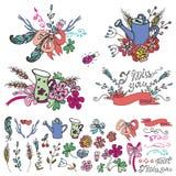 Doodle  floral group,hand sketched elements set Royalty Free Stock Image