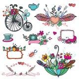 Doodle floral group,hand sketched vintage element Royalty Free Stock Image