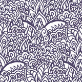 Doodle floral hand drawn ornament. Seamless background. Royalty Free Stock Image