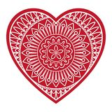 Doodle Floral Heart. Doodle heart Valentines Day love symbol. Floral heart shape. Decorative round flower. Graphic design element for wedding invitation Royalty Free Stock Photos