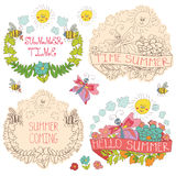 Doodle floral label with butterflies,bees,sun. Doodle floral  label  set with colored flowers, plants,ribbons,bees,sun,clouds  in baby hand drawing sketch style Royalty Free Stock Photography