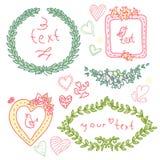 Doodle floral label Stock Photos