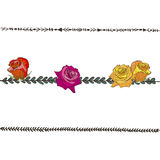 Doodle floral line with colorful roses. Flower design elements, floral border. Vector illustration. Royalty Free Stock Image