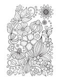 Doodle floral pattern in black and white. Page for coloring book: relaxing job for children and adults. Zentangle. Doodle floral pattern. Page for coloring book Stock Image
