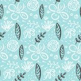Doodle floral pattern with flowers and leaves vector illustration
