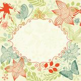 Doodle floral pattern with frame in vector  Royalty Free Stock Images