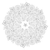 Doodle floral round ornament in black and white. Page for coloring book: relaxing job for children and adults. Zentangle vector illustration