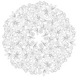 Doodle floral round ornament in black and white. Page for coloring book: relaxing job for children and adults. Zentangle royalty free illustration