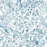 Doodle floral seamless card Royalty Free Stock Photos