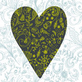 Doodle floral seamless card with heart Royalty Free Stock Images