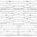 Doodle floral seamless line borders pattern ,brushes set. Doodles seamless border,pattern,brushes and florish decor set.For design templates,invitations and menu vector illustration