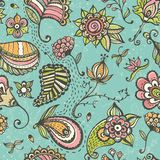 Doodle floral seamless pattern. Stock Photography