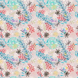 Doodle floral seamless pattern with flowers Royalty Free Stock Images