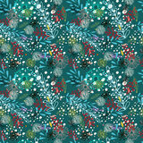 Doodle floral seamless pattern with flowers Royalty Free Stock Photos