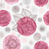 Doodle floral seamless pattern. Seamless pattern with hand drawn flowers in doodle style and circles texture. Abstract artistic background. Vector Illustration royalty free illustration