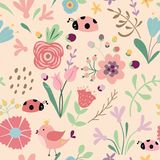 Doodle floral seamless pattern Spring summer background Hand drawn graphic template vector. Doodle floral seamless pattern Spring summer background Hand drawn vector illustration