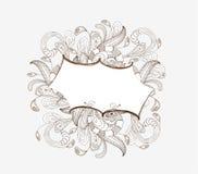 Doodle florals picture frame stock illustration